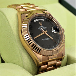 Rolex President Day-Date II 18K Rose Gold 41mm 218235 Black Concentric Dial