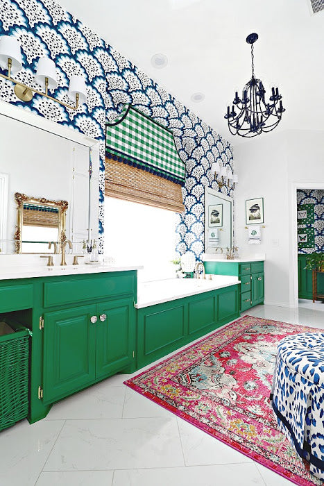 GREEN, BLUE AND WHITE MASTER BATHROOM REVEAL PART 2