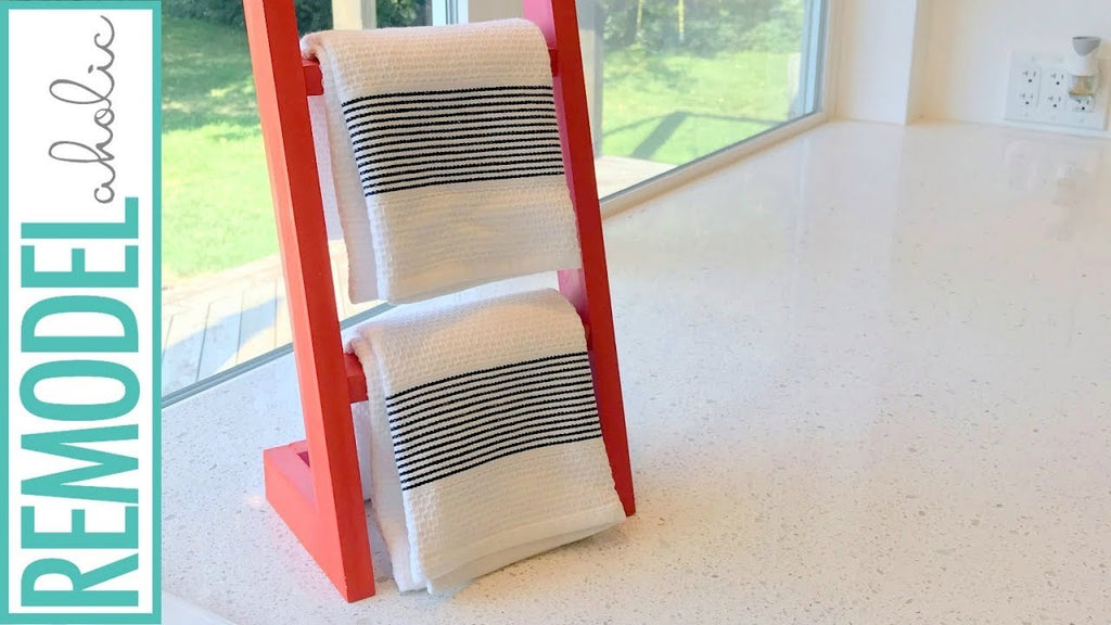 Build this easy countertop ladder (think mini freestanding blanket ladder) to hold hand towels by the sink, or utensils and spices near the stove