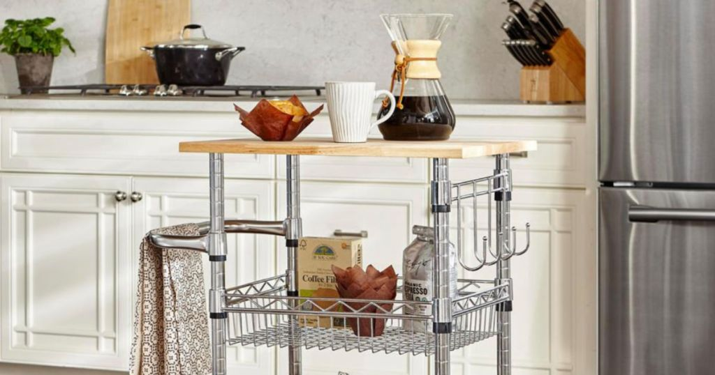Highly Rated Chrome & Wood Rolling Kitchen Cart Only $38 Shipped (Regularly $70)