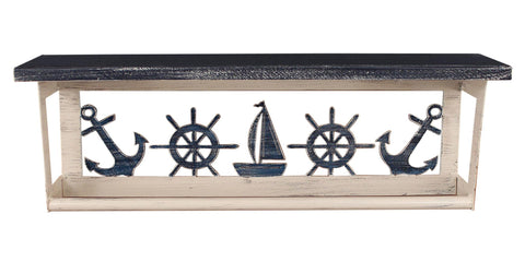 "Nautical 24"" Towel Bar Shelf with Sailboat, Anchor, Ship Wheel"