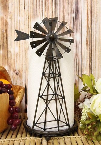 "Ebros 14.5""Tall Rustic Country Farm Agricultural Windmill Outpost Paper Towel Holder Display Dispenser Stand Made Of Handcrafted Metal Western Kitchen Bathroom Home Decor In Aged Bronze Finish"