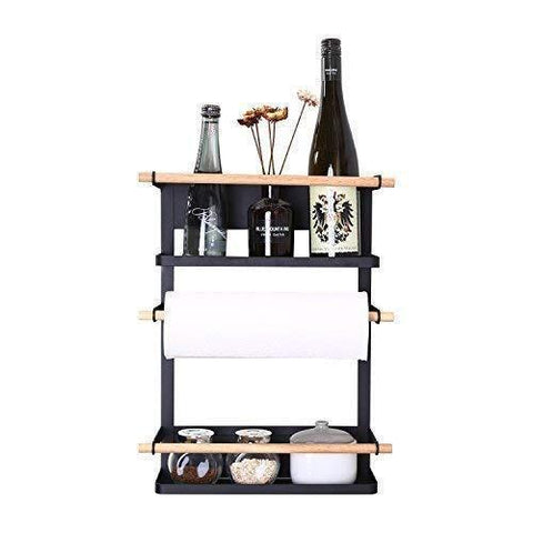 Kitchen Rack - Magnetic Fridge Organizer - 18x12.7x5 INCH - Paper Towel Holder, Rustproof Spice Jars Rack, Heavy-duty Refrigerator Shelf Storage Including 6 Removable Hooks (BLACK) - 2019 New Design
