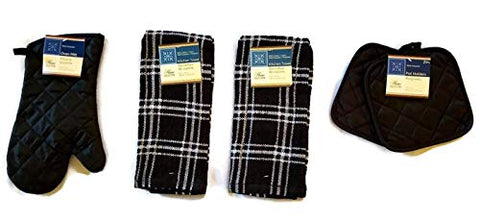 Home Collection Black & White Kitchen Linen Bundle Package Oven Mitt (1) Pot Holders (2) Kitchen Towels (2)