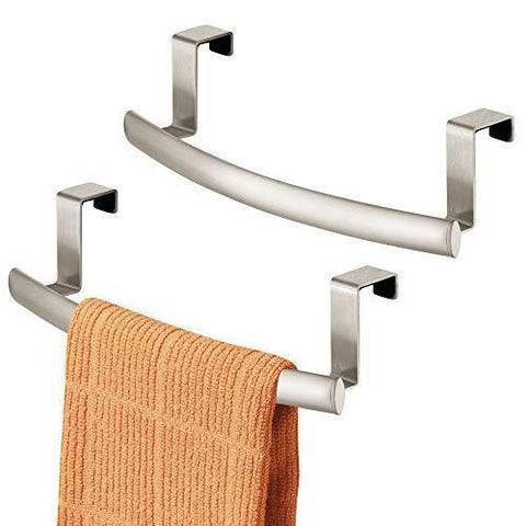 "mDesign Modern Metal Kitchen Storage Over Cabinet Curved Towel Bar - Hang on Inside or Outside of Doors, Organize and Hang Hand, Dish, and Tea Towels - 9.7"" Wide, 2 Pack - Matte Satin"