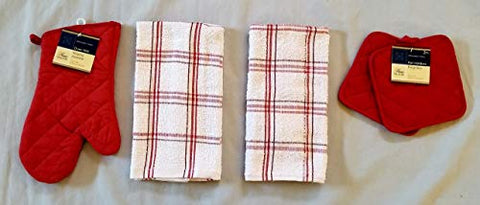 Home Collection Red & White Kitchen Linen Bundle Package Oven Mitt (1) Pot Holders (2) Kitchen Towels (2)