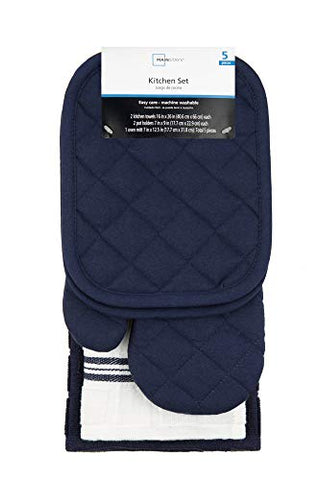 5 Piece Kitchen Towels Set 2 Towels, 1 Oven Mitt and 2 Pot Holders Navy