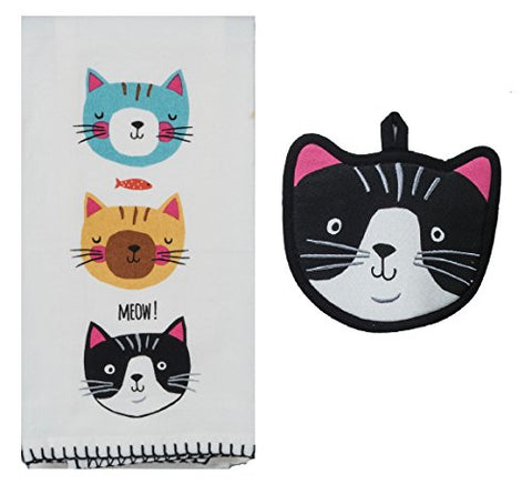 Kay Dee Designs Crazy Cats Kitchen Towel Bundle with Potholder