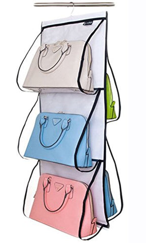 6 Pockets Hanging Closet Organizer Clear Easy Accees Anti-dust Cover Handbag Purse Holder Storage Bag Collection Shoes Clothes Space Saver Bag with a Hanging Hook (White)