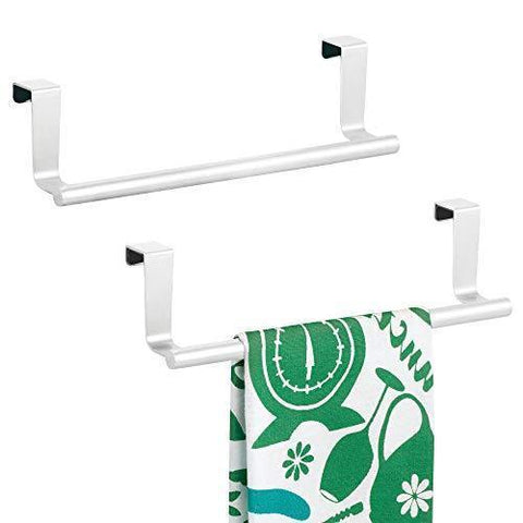 "mDesign Decorative Metal Kitchen Over Cabinet Towel Bar - Hang on Inside or Outside of Doors, Storage and Display Rack for Hand, Dish, and Tea Towels - 9"" Wide, 2 Pack - Matte White"