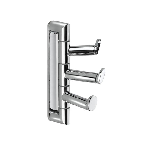Pomdor Micra Wall Triple Towel Robe Hook Hanger for Bath Towel Holder, Brass