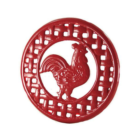 Cast Iron Red Rooster Trivet