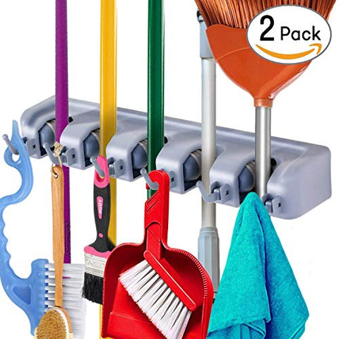 Mop and Broom Holder Wall Mount, W.O.B Utility Storage Hooks Multi-Used in Kitchen, Garage, Outdoor Yard (Pack of 2)