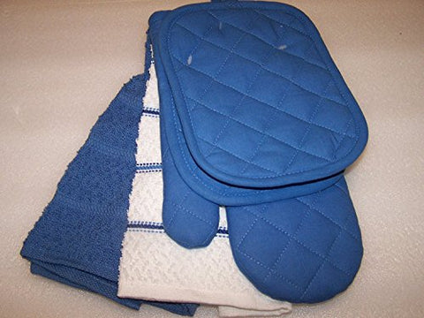 Blue Summer Kitchen Towel Set 5 Piece- Towels, Pot Holders, Oven Mitt
