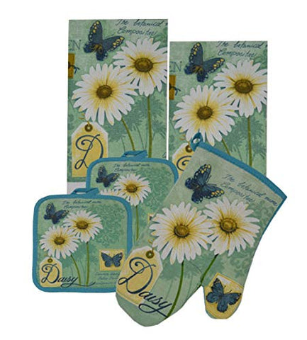 GinsonWare 5 Pieces Kitchen Linen Set. (Oven Mitt, Kitchen Towels and Pot Holders) (Daisy)