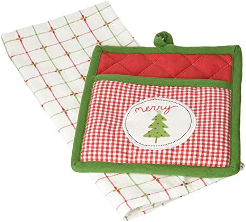 DII Cotton Christmas Holiday Dish Towel and Pot Holder Gift Set, Perfect for Kitchen Cooking and Baking-Merry Xmas Tree