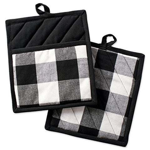"DII Buffalo Check Plaid Pot Holders with Pocket, , Black & White, (Set of 2), 9"" x 8"""