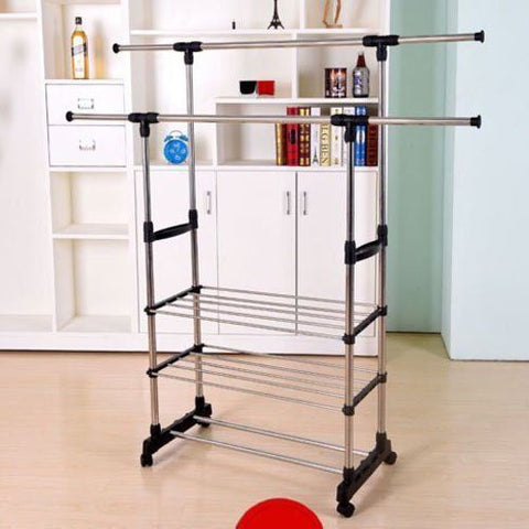 WAJJ 3 Tiers Stainless Steel Clothing Garment Shoe Rack Clothing Airing Holder Storage Rack Dual Bars Horizontal & Vertical Telescope Style