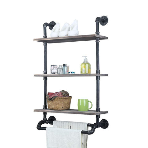 Industrial Bathroom Shelves Wall Mounted With 2 Towel Bar,24in Rustic Pipe Shelving 3 Tiered Wood Shelf,Black Farmhouse Towel Rack,Metal Floating Shelves Towel Holder,Iron Distressed Shelf Over Toilet