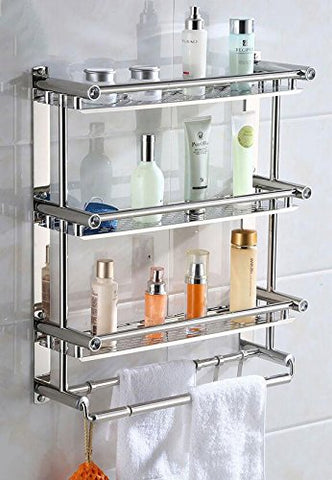 LJMM Marie brother bathroom rack,towel rack,stainless steel bath towel rack,toilet,toilet rack,belt hook,double layer double rod (free punching installation) about 50 cm,50cm,three layers