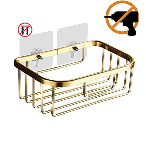 BlanceEG Self Adhesive Toilet Paper Holder Storage, Space Aluminum No Drilling Dispenser Tissue Hanger Wall Mount for Kitchen, Bathroom (Golden)