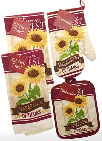 Harvest Spread Seeds of Thanks Fall Kitchen Towel Set. Sunflowers and Glitter. Bundle of 4 Includes 2 Towels, 1 Oven Mitt and 1 Pot Holder .Fall Kitchen Towels Set.