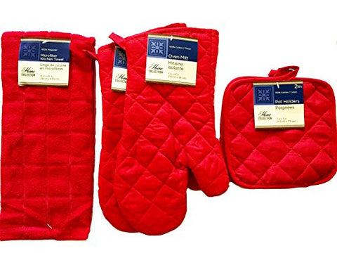 Home Collection Kitchen Linen Set (2 Oven Mitts, 2 Pot Holders, 1 Kitchen Towel) (Red)
