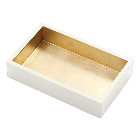 Caspari Lacquer Guest Towel Napkin Holder in Ivory & Gold, 1 Each