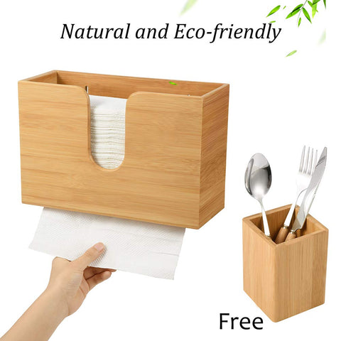 Bamboo Paper Towel Dispenser Wall Mount Paper Towel Holder for C-fold/Z-fold/Trifold/Multifold Hand Towels - Bathroom, Kitchen, Commercial Use (Bamboo Utensil Holder Included)