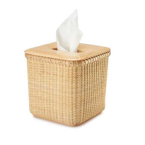 Tengtian Nantucket Basket Extraction Paper Basket Tissue BoxToilet Paper Storage Containers Paper Towel Holders Woven Rattan Handwoven Square Rattan Tissue Box Cover Office Kitchen Bath Living(Oak)