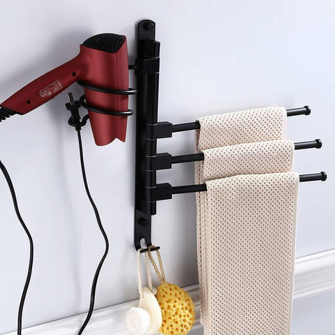 MOCOFO Bath Towel Holder Swing Out Towel Bar Stainless Steel Bathroom Hand Towel Rack 3 Bars Folding Arm Swivel Hanger Wall Mount Polished Finish