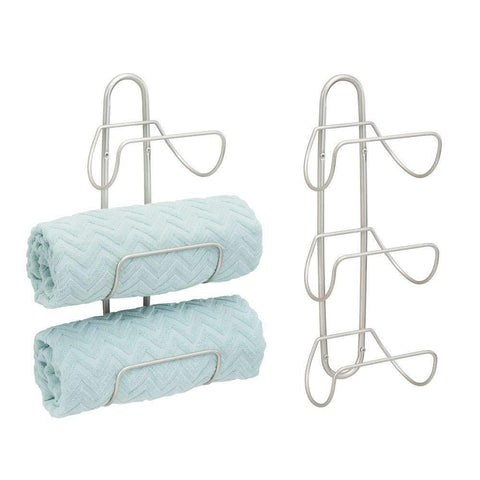mDesign Modern Decorative Metal 3-Level Wall Mount Towel Rack Holder and Organizer for Storage of Bathroom Towels, Washcloths, Hand Towels - 2 Pack - Satin