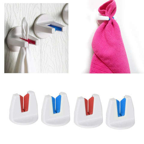 4 x Towel Holder Self Adhesive Bathroom Kitchen Dishcloth Grip Hanger Push In