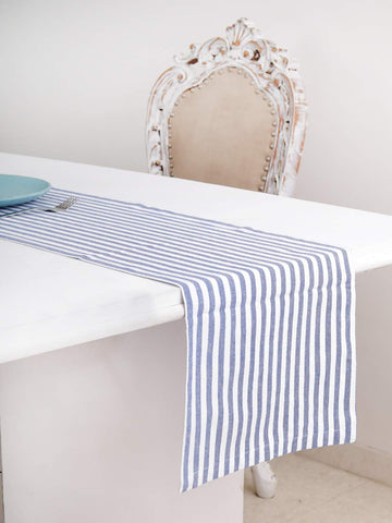 "Cotton Table Runner (13 X 72 Inches), Blue & White Stripe - 1"" Hemmed With Mitered Corner,Perfect For All Seasons And Holidays"