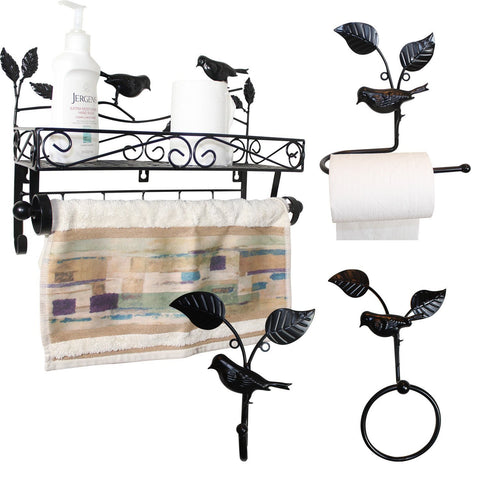 Home Decor Bathroom Black Metal Wire Wall Rack | Nile Corp