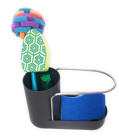 EZ Breezy Home Sink Caddy Kitchen Sink Organizer Sponge Holder with Dish Cloth Towel and Cleaning Brush Holder.