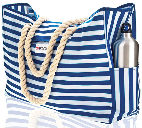 "Beach Bag XXL (HUGE). 100% Waterproof. L22""xH15""xW6"". Cotton Rope Handles, Top Magnet Clasp, Two Outside Pockets. Blue Stripes Shoulder Beach Tote has Phone Case, Built-In Key Holder, Bottle Opener"