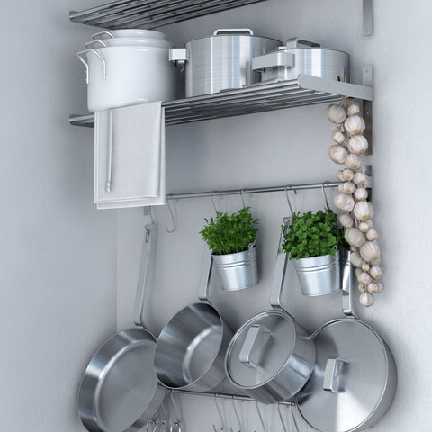 Ikea Grundtal Stainless Steel Wall Shelf , Rail and 15 Large Hooks Set , Kitchen Storage and Organizer Set