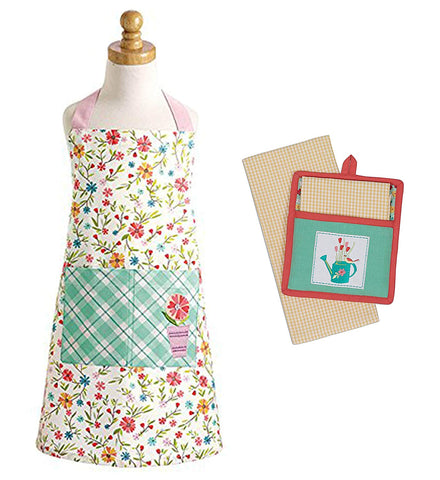 Chef Set for Kids - Floral Apron Pocket with Potholder Kitchen Towel - Daisy Plaid