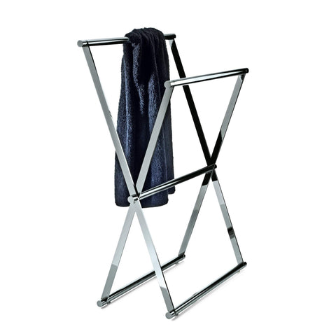 DWBA Standing Folding Chrome Towel Bath Rack Stand Double Bar Towel Holder 27.6""