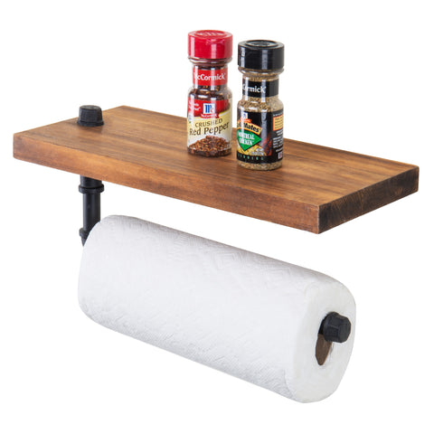 Industrial Pipe Floating Shelf & Paper Towel Holder