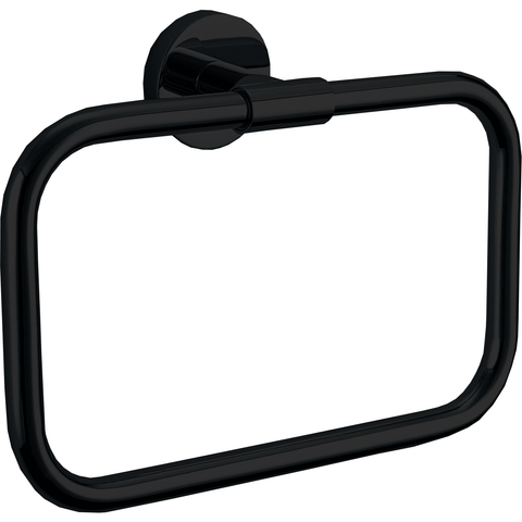 DWBA Black Matte Self Adhesive Rectangular Closed Towel Ring Holder Towel Hanger