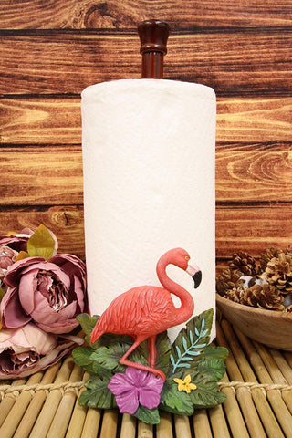 "Ebros Gift Tropical Birds of Paradise Graceful Pink Flamingo Kitchen Dining Paper Towel Holder Dispenser 15"" High Home Accent Western Decorative Figurine Dinner Table or Bar or Countertop Centerpiece"