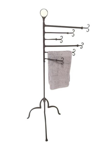 Ornate Hand Forged Iron Bathroom Towel Rail / Rack On Stand - Very Unique