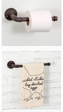 Rustic Iron Pipe Bathroom Toilet Paper Holder and Hand Towel Rack Bundle - Be Ready Deals