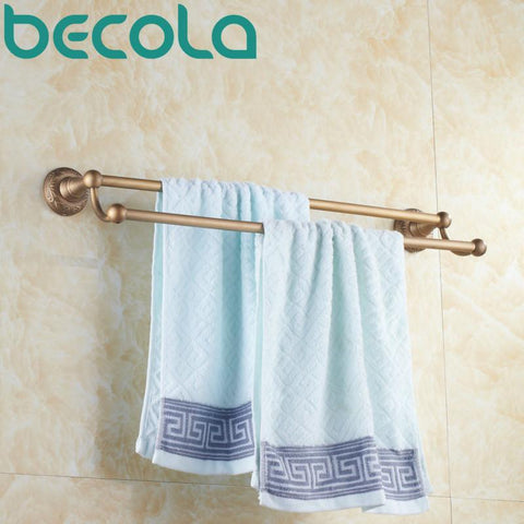 Bathroom Accessories Antique Double Towel Bar Bathroom Hardware Wall Mounted Brass Towel Holder B5310