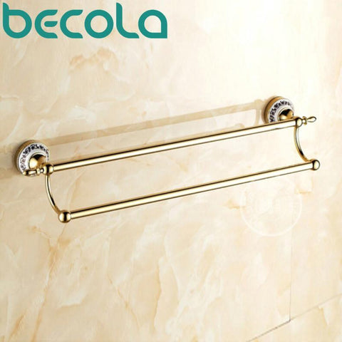 Bathroom Accessories Gold Plated Double Towel Bar Bathroom Hardware Wall Mounted Brass Towel Holder Br5510