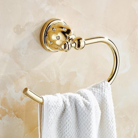 Antique Towel Holder Gold Diamond Brass Towel Ring Luxury Little Crystal Towel Bar Wall Mounted Bathroom Accessories Products