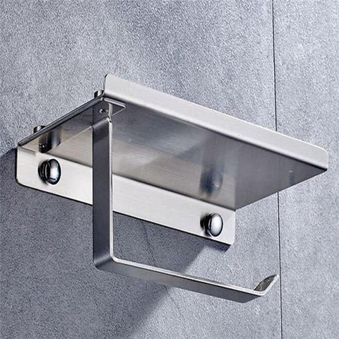 Stainless Steel Bathroom Tissue Paper Holder with Phone Shelf
