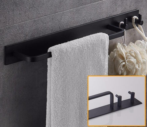 Wall Mounted  BathroomTowel Bar with Hooks